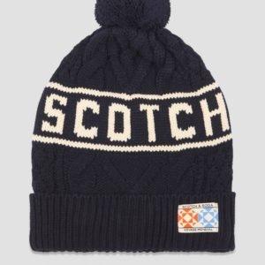 Scotch & Soda Knitted Beanie With Logo Intarsia Hattu Sininen