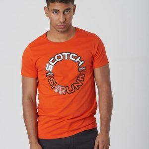 Scotch & Soda Tee With Colourful Logos Artworks T-Paita Punainen