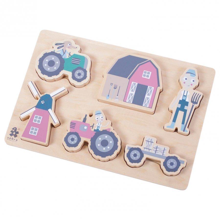 Sebra Farm Boy Wooden Chunky Puzzle Palapeli