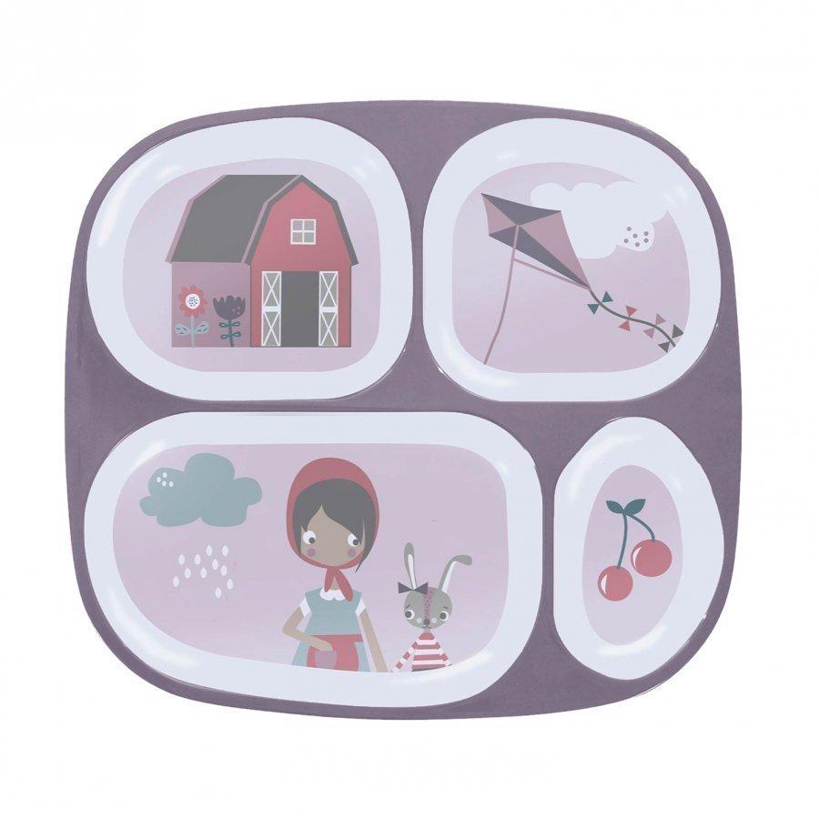 Sebra Melamine Plate W/4 Rooms Farm Girl Lautanen