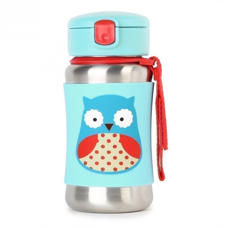 Skip Hop Zoo Stainless Steel Straw Bottle Owl Vesipullo