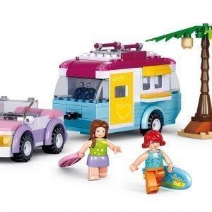 Sluban Car With Caravan Sluban Girls Dream Sarjan Rakennuspalikat