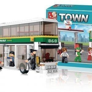 Sluban Double Decker Bus Sluban Town Sarjan Rakennuspalikat