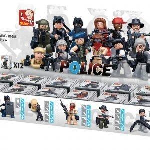Sluban Minihahmot 6 Rosvoa & 6 Poliisia Sluban Police Sarjan Rakennuspalikat
