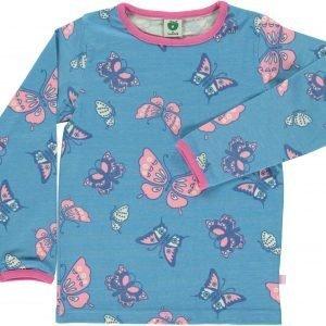 Småfolk Butterflies Ls Paita Vaaleansininen