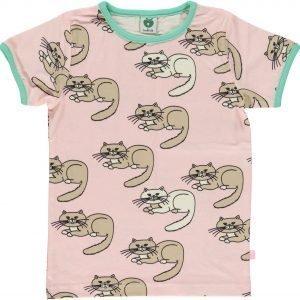 Småfolk Cat Ss T-Paita Vaaleanpunainen
