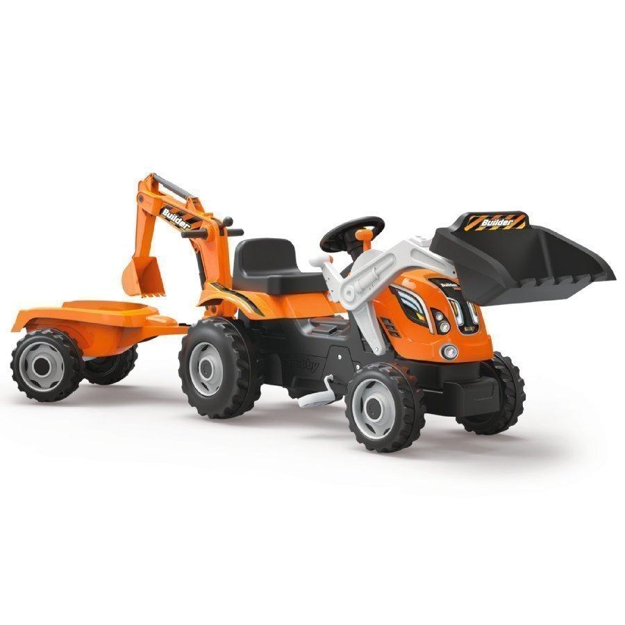 Smoby Builder Max Traktori Peräkärryllä Ja Etu Sekä Takakuormaajilla