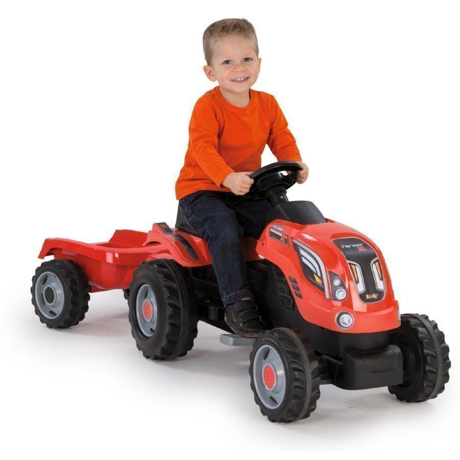 Smoby Farmer Xl Traktori Peräkärryllä Punainen