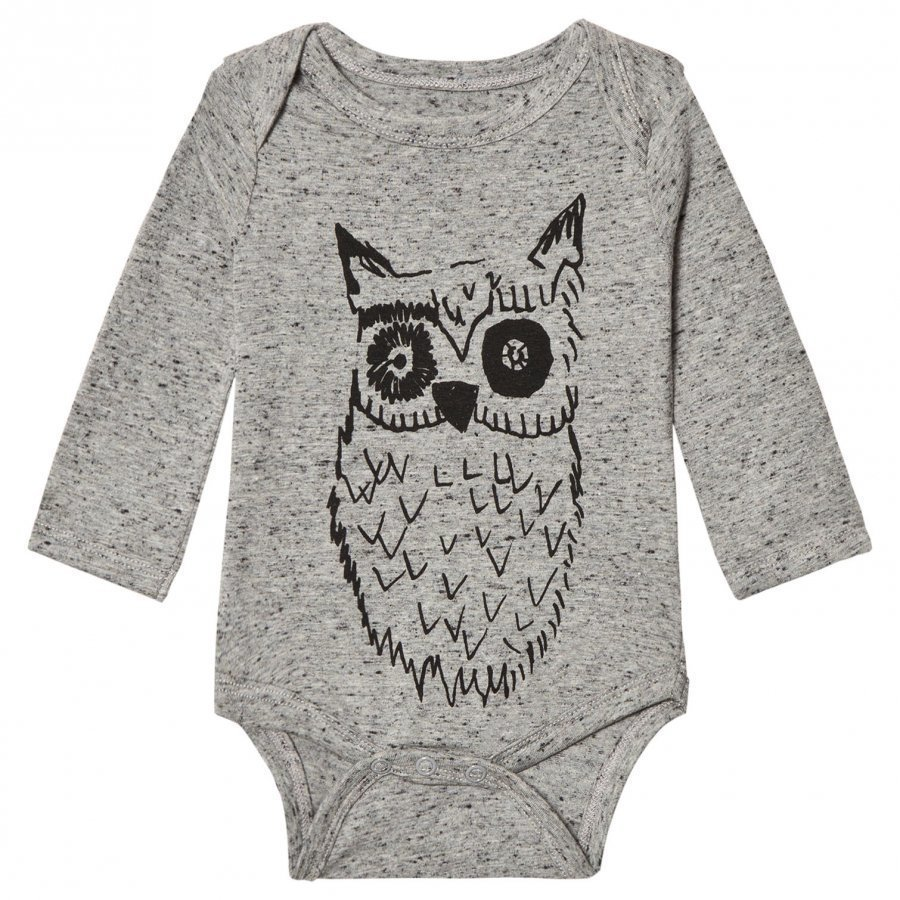 Soft Gallery Baby Body Big Owl Blue Neppy Grey Melange Body