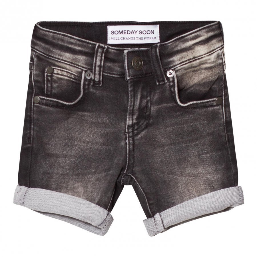 Someday Soon Carl Denim Shorts Washed Bla Farkkushortsit