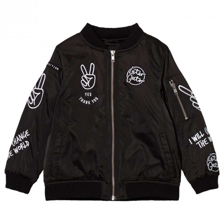 Someday Soon Gator Jacket Black Bomber Takki