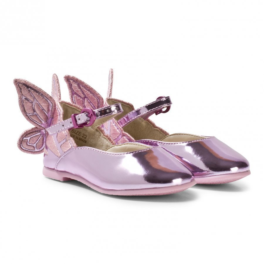 Sophia Webster Mini Chiara Embroidered Butterfly Shoes Pink Ballerinat