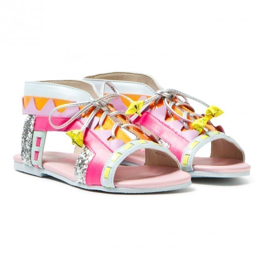 Sophia Webster Mini Fluro Pink Silver Glitter Riko Sandals Remmisandaalit