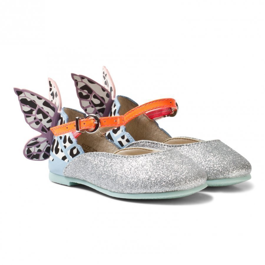 Sophia Webster Mini Leopard Chiara Embroidered Butterfly Shoes Silver Ballerinat