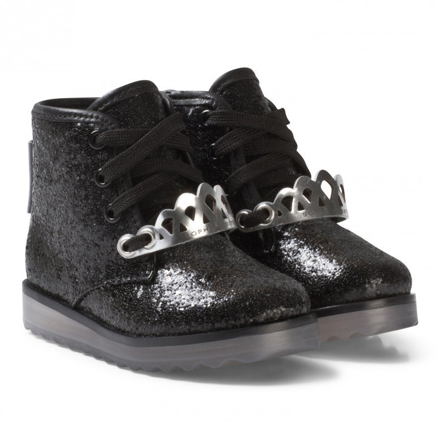 Sophia Webster Mini Royalty Ankle Boots Black Glitter Nilkkurit