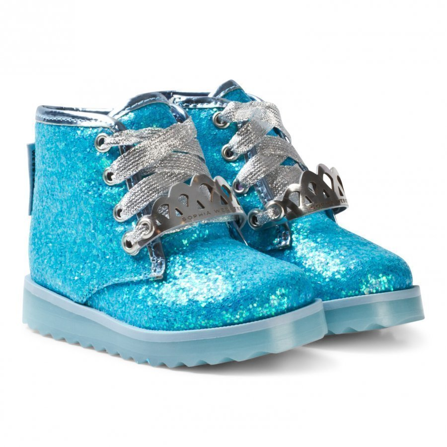 Sophia Webster Mini Wiley Royalty Ankle Boots Blue Glitter Nilkkurit