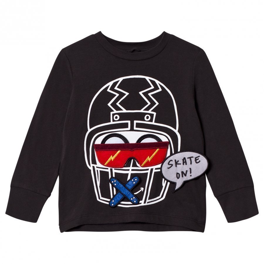 Stella Mccartney Kids Black Funny Face Helmet Tee T-Paita