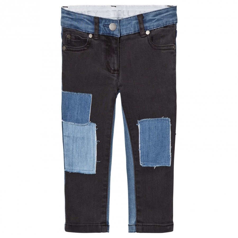Stella Mccartney Kids Black Nina Denim Jeans With Patches Farkut