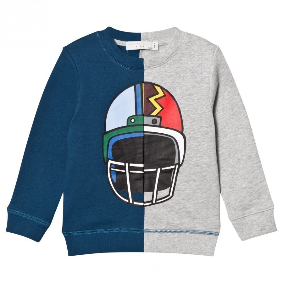 Stella Mccartney Kids Blue And Grey Helmet Print Sweatshirt Oloasun Paita