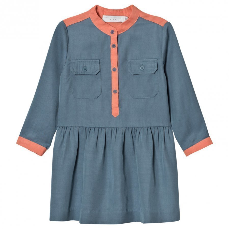 Stella Mccartney Kids Blue And Pink Tess Shirt Dress Mekko