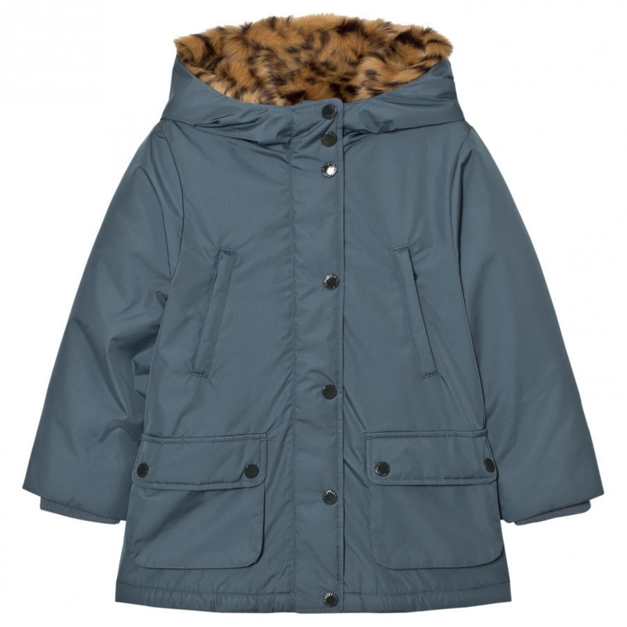 Stella Mccartney Kids Blue Blythe Hooded Jacket Tiger Faux Fur Lining Parkatakki