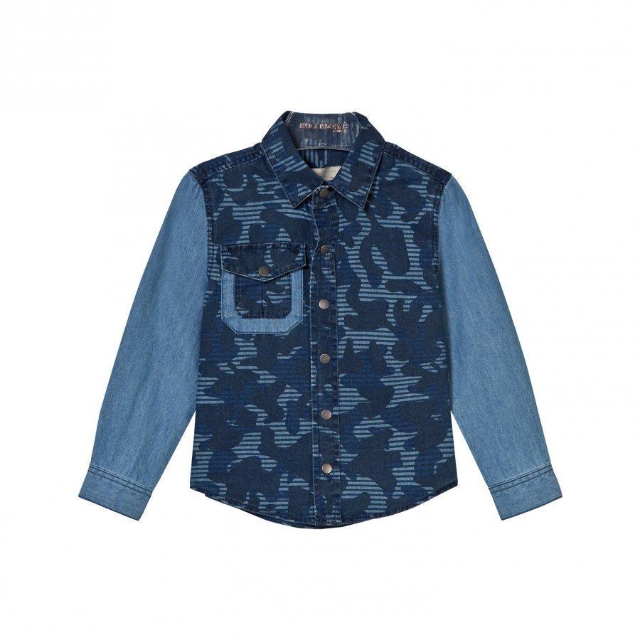 Stella Mccartney Kids Blue Camouflage Print Samuel Shirt Kauluspaita