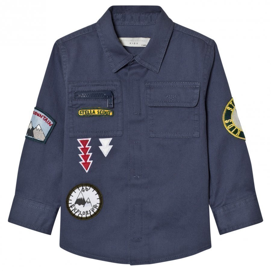 Stella Mccartney Kids Blue Denim Enzo Shirt With Badges Kauluspaita