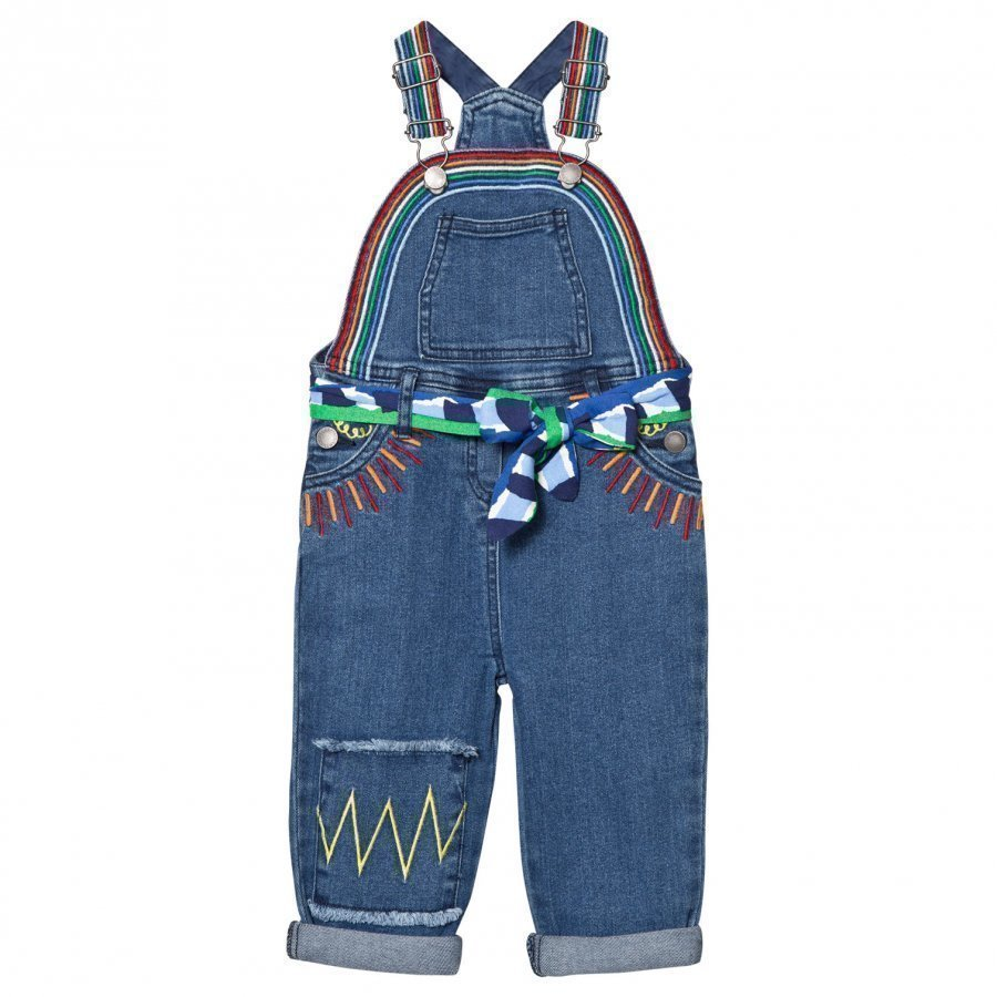 Stella Mccartney Kids Blue Denim Rainbow Dungarees With Embroidered Sun Lappuhaalari