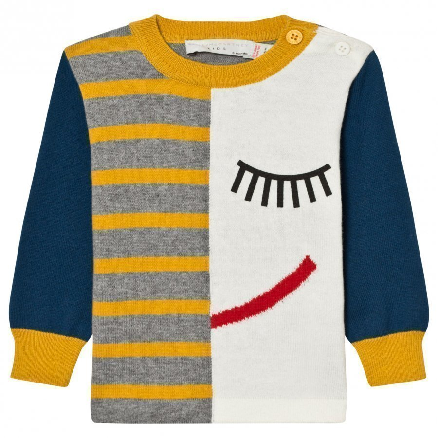 Stella Mccartney Kids Blue Lucky K Jumper Intarsia Face Paita