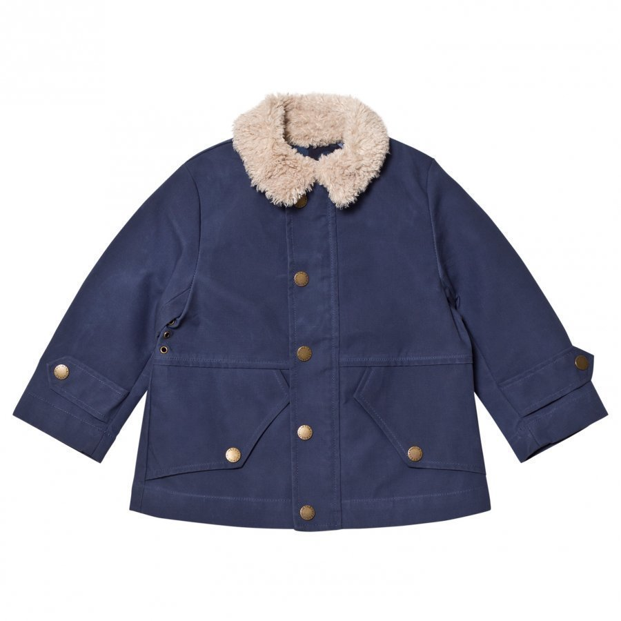 Stella Mccartney Kids Blue Luke Jacket Teddy Collar Talvitakki