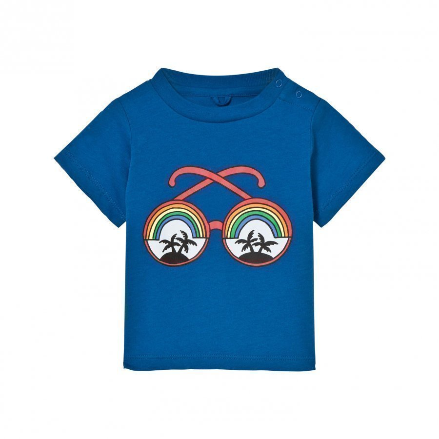 Stella Mccartney Kids Blue Rainbow Sunglasses Tee T-Paita