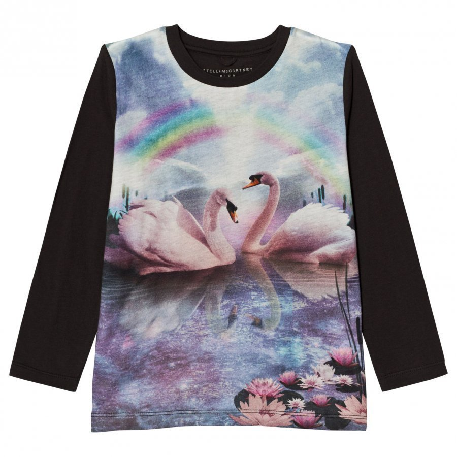 Stella Mccartney Kids Blue Rainbow Swan Bella Tee T-Paita