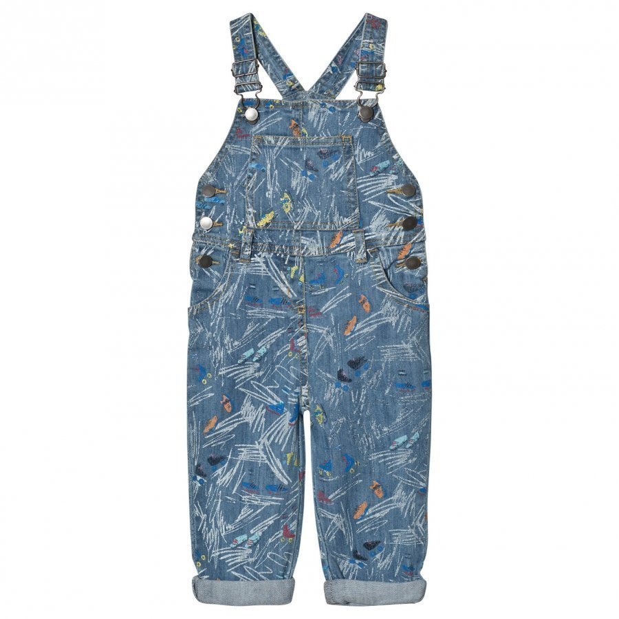 Stella Mccartney Kids Blue Scribble And Skate Rudy Overalls Lappuhaalari