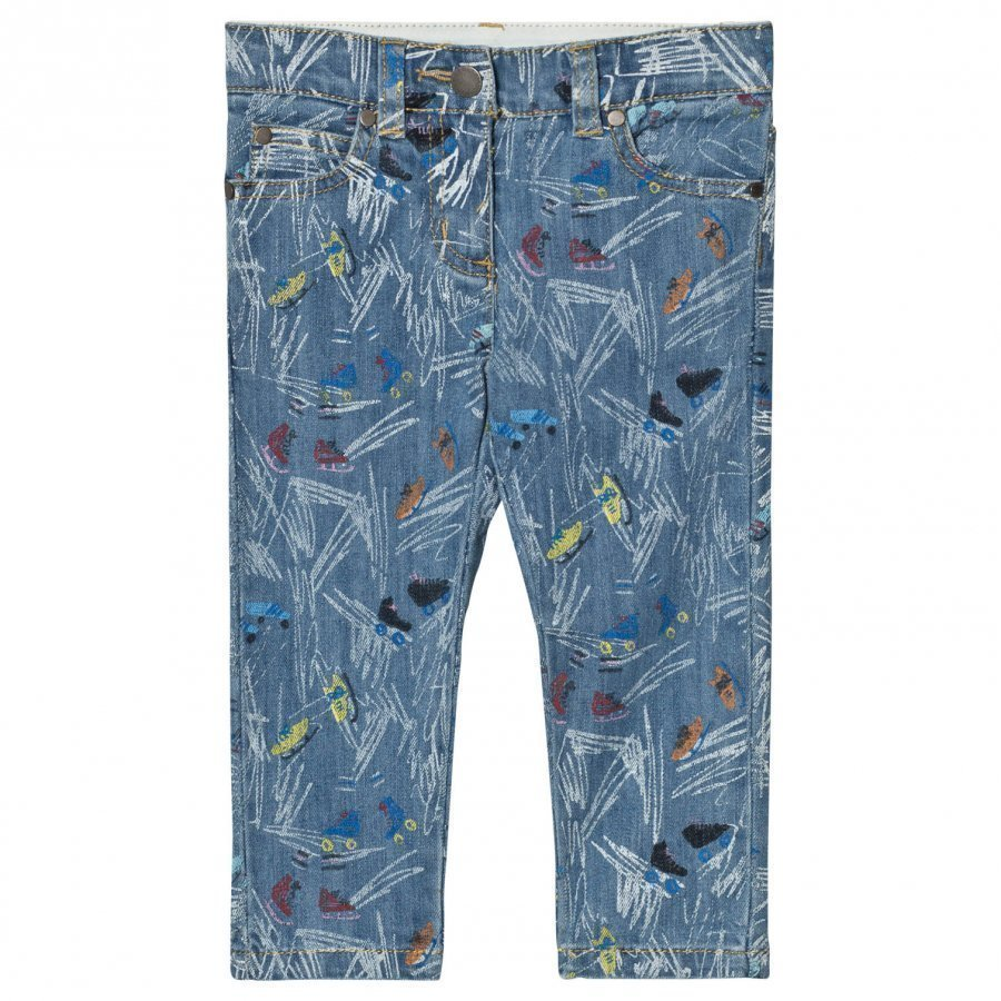 Stella Mccartney Kids Blue Scribble And Skates Lohan Jeans Farkut