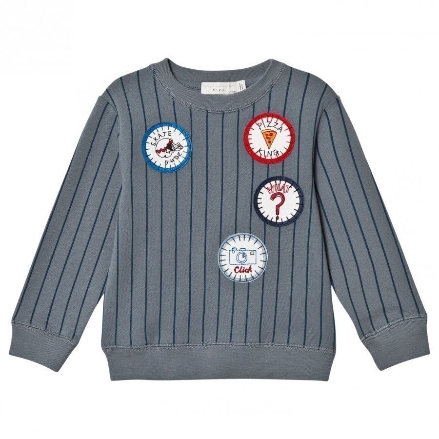 Stella Mccartney Kids Blue Stripe Badge Biz Sweatshirt Oloasun Paita