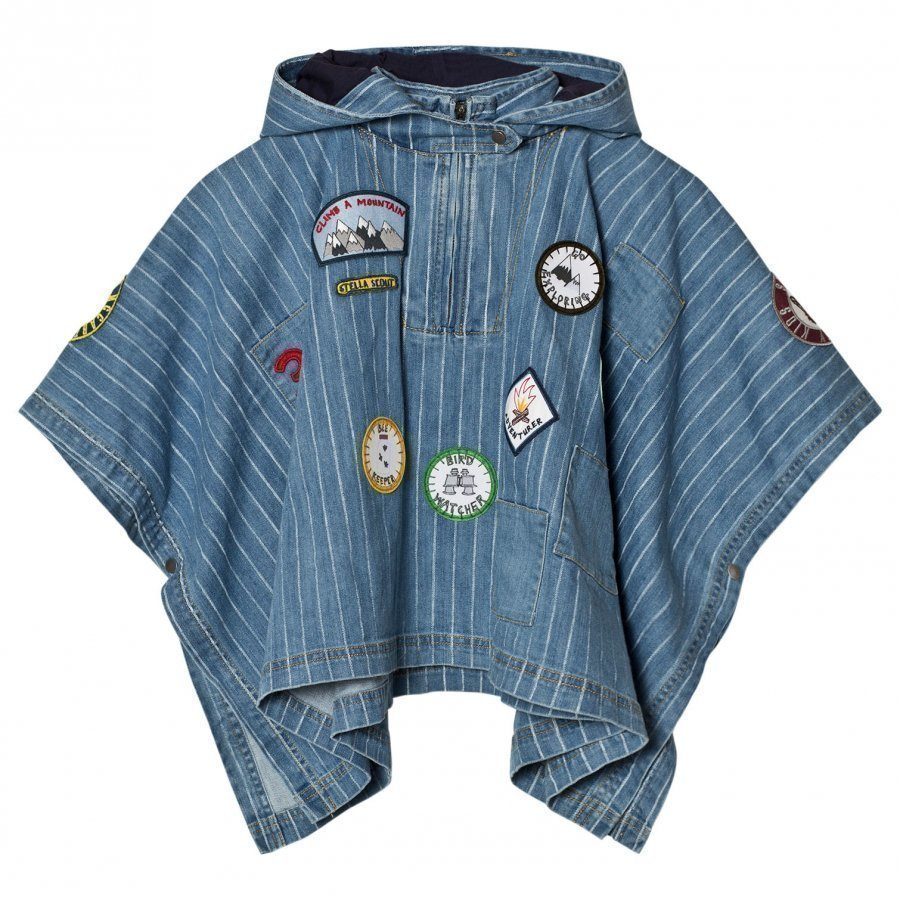 Stella Mccartney Kids Denim Tambourine Blue Cape With Badge Viitta