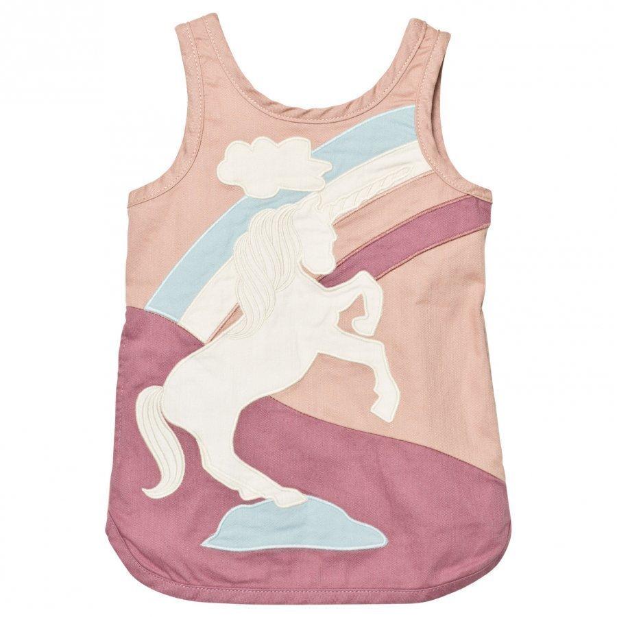 Stella Mccartney Kids Dusty Rose Unicorn Patch Dress Mekko