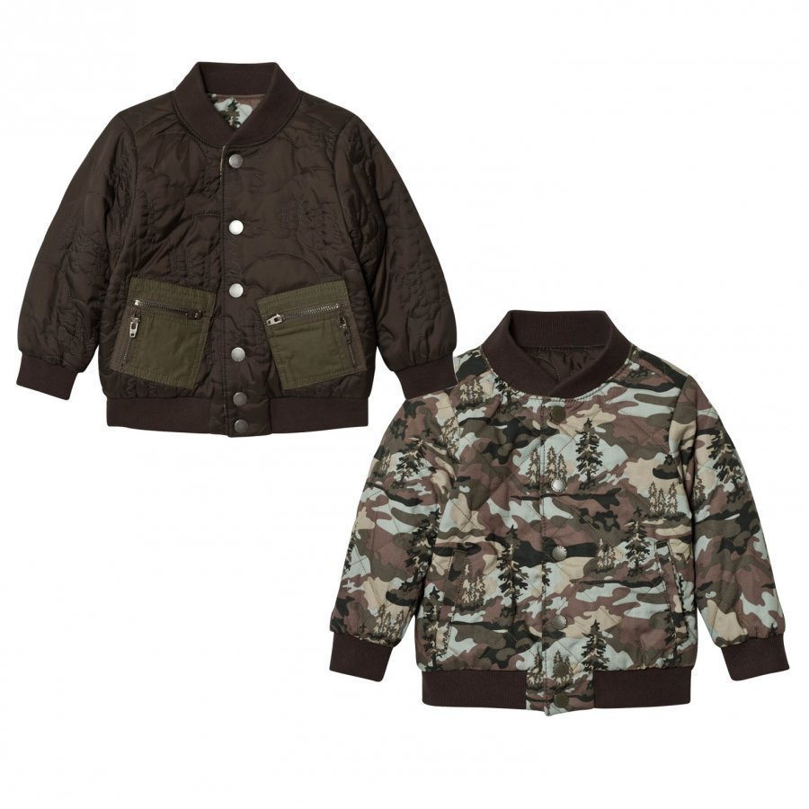 Stella Mccartney Kids Green Camo Bud Bomber Jacket Bomber Takki