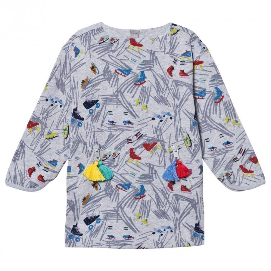 Stella Mccartney Kids Grey Fleece Scribble Print Tonya Dress Mekko