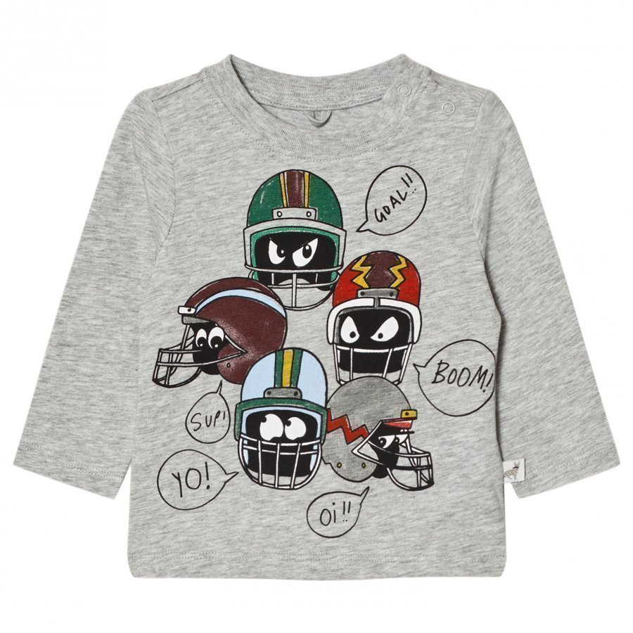 Stella Mccartney Kids Grey Helmet Print Tee T-Paita