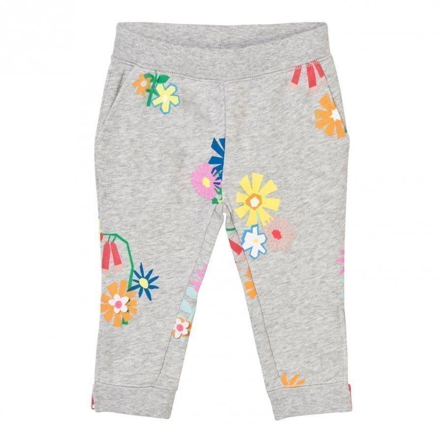 Stella Mccartney Kids Grey Melange Floral Print Sweatpants Housut