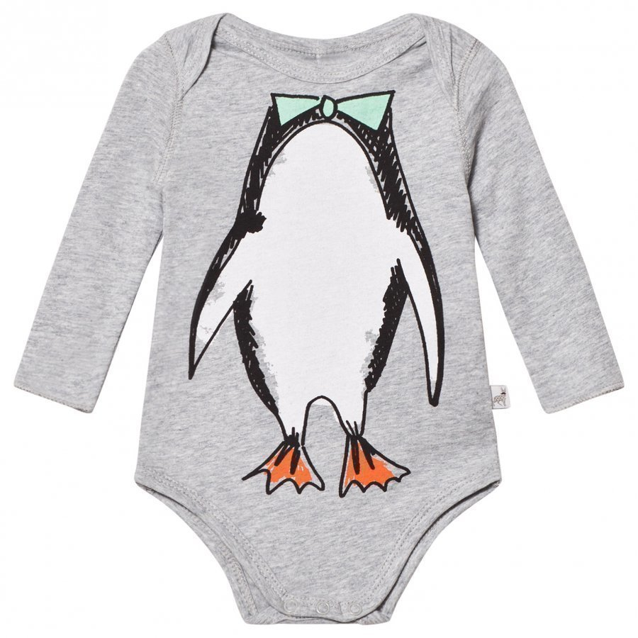 Stella Mccartney Kids Grey Penguin Print Baby Body