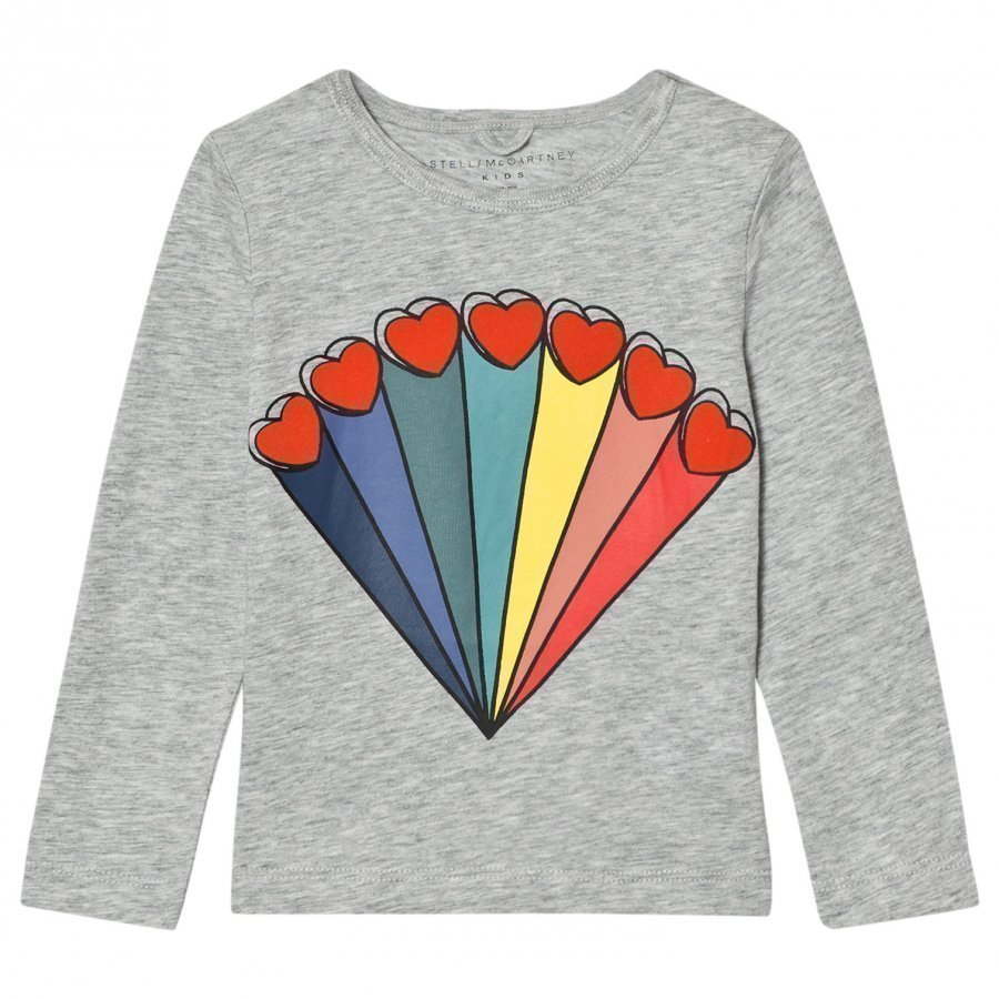 Stella Mccartney Kids Grey Rainbow Heart Bella Tee T-Paita