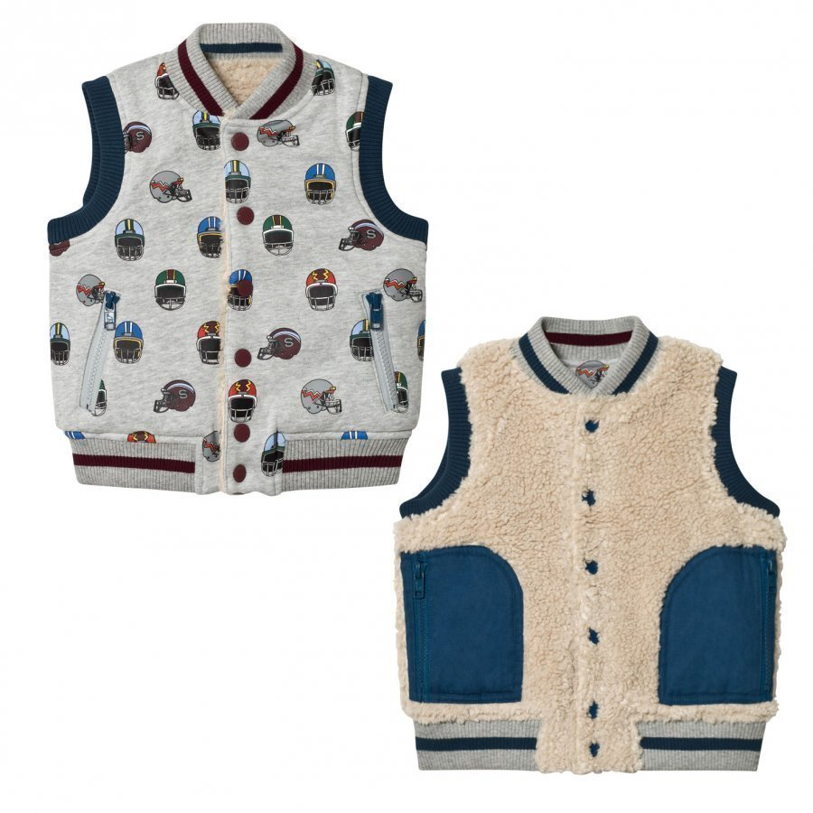 Stella Mccartney Kids Grey Reversible Helmet Print Vest Toppaliivi