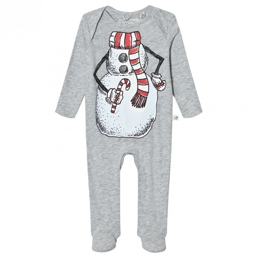 Stella Mccartney Kids Grey Snowman Rufus Footed Baby Body