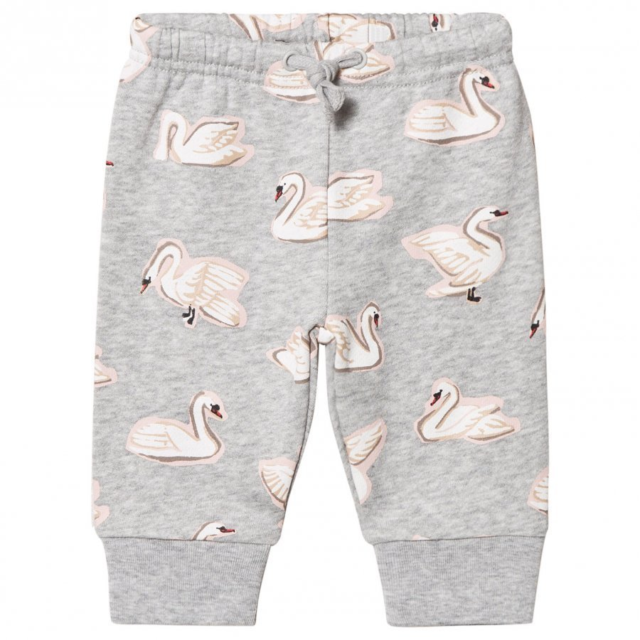 Stella Mccartney Kids Grey Swan Print Sweat Pants Verryttelyhousut