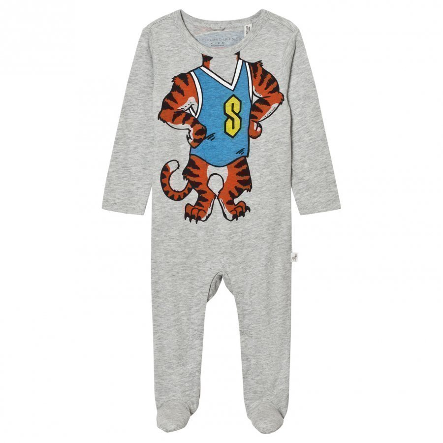 Stella Mccartney Kids Grey Tiger Footed Baby Body