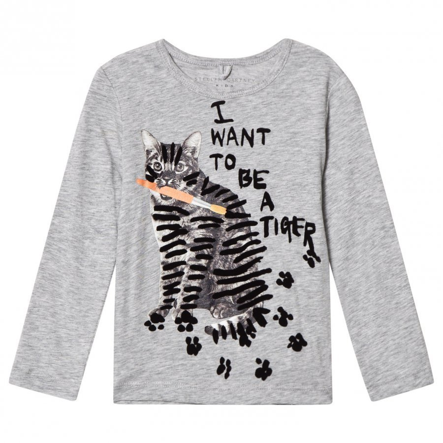 Stella Mccartney Kids Grey Tiger Print Bella Tee T-Paita