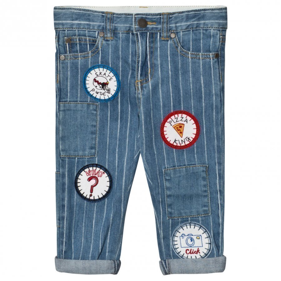 Stella Mccartney Kids Lohan Unisex Blue Jeans With Badges Farkut