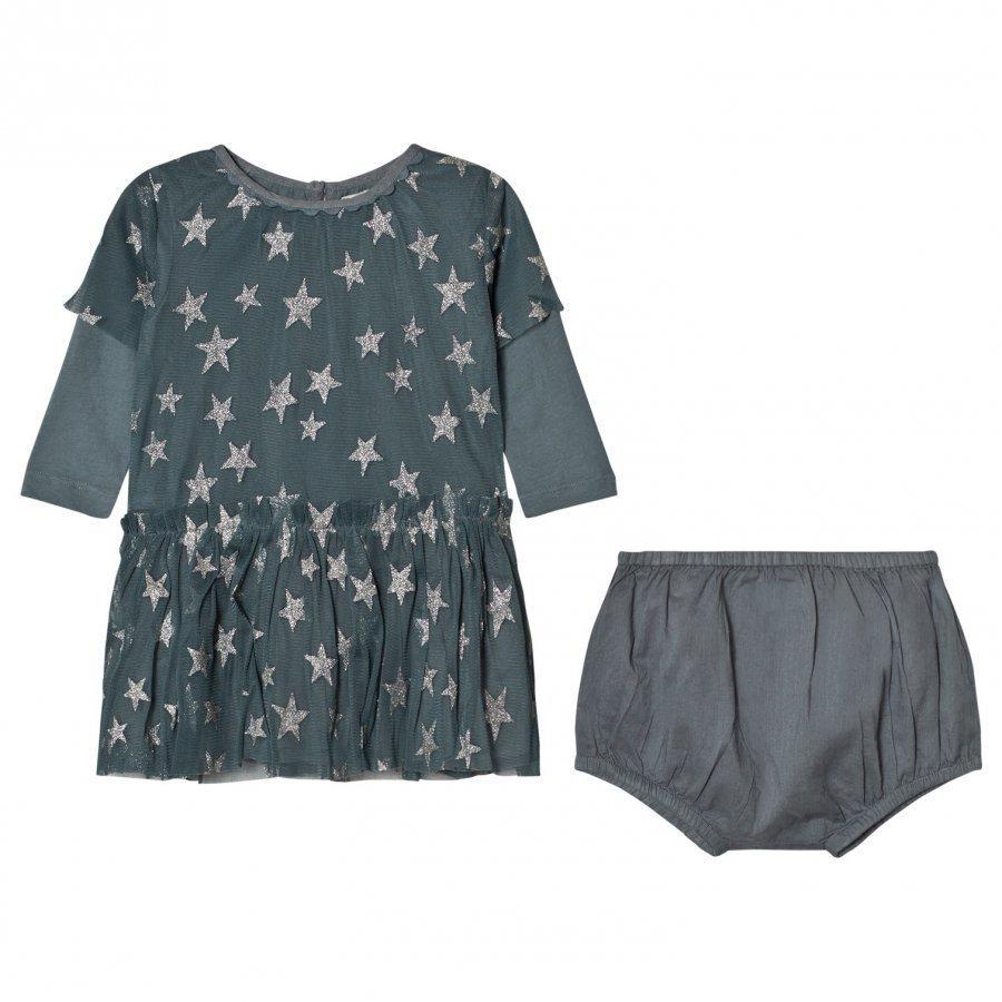 Stella Mccartney Kids Mouse Tulle Silver Star Dress Juhlamekko